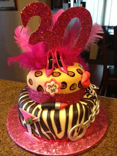 Dirty 30 Birthday Cake........this is everything I love, animal print, pink, and glitter how could you go wrong?!?!?