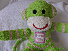 Sweet Pea the sock monkey ready to ship Lime by THEMONKEYSHOP