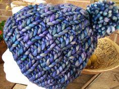 Really Warm hat by Melissa LaBarre. malabrigo Rasta, Azules color