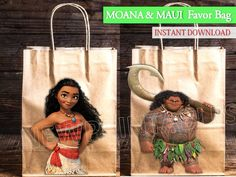 Moana Favor Bags/ Maui Favor Bag/ Moana Printables/ Moana party bag/ Maui/ Instant Download/ Glitter Circle/ You Print 60%OFF by VICTORSTORE on Etsy