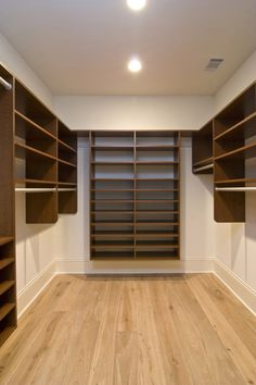 A Classy Closets' walk-in master closet that features extra hanging space and lots of shelves for extra storage. Don't let your odd-shaped closet prevent you from having a beautiful, organized closet. For more info or to schedule a free in-home consultation, visit www.classyclosets.com. #classyclosets #morethanclosets #customclosets