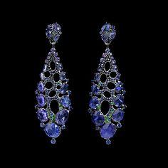 Mousson atelier, collection Splash, ear pendants, Black gold 750, Tanzanite 20,56 ct., Sapphires, Tsavorites