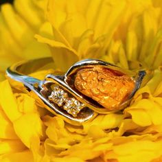 Alaskan Gold Nuggets and Diamonds in White Gold Ring, Gold Nugget Jewelry ~ http://www.shop.goldrushfinejewelry.com/