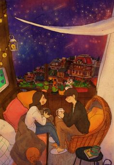 별이 빛나는 밤. 커피를 마시며 대화를 나눠요. A starry night. We are having a talk while drinking some coffee.