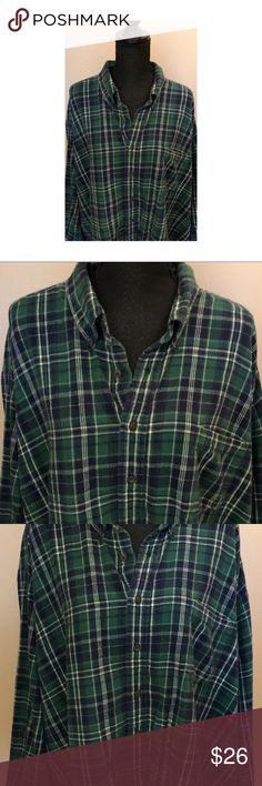 Towncraft Flannel Green Blue White Plaid Towncraft Flannel Green Blue White Plaid.  Oversized Towncraft Tops