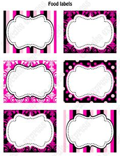 DIY Barbie Inspired Birthday Party PRINTABLE Food Labels favor tags Pink black white polka dots damask stripes. $4.00, via Etsy.