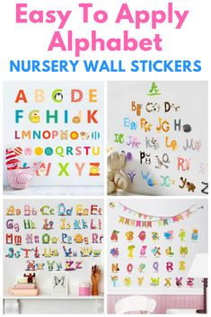 Super Easy DIY, Colourful alphabet wall stickers for your nursery or baby room. nursery room decor, baby room diy, nursery decor diy, alphabet wall art, alphabet nursery decor, alphabet baby room decor, colourful nursery decor, baby wall art, nursery wall art, nursery wall mural, baby room mural, baby wall mural. Kids Wall Murals, Nursery Wall Murals, Diy Nursery Decor, Baby Nursery Diy, Baby Room Diy, Kids Wall Decor, Art Wall Kids, Baby Decor, Nursery Room