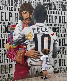 Ringo.Pelé  #graffiti #art #beatles #ringostarr #vilamadalena #saopaulo #pele #soccer #wall