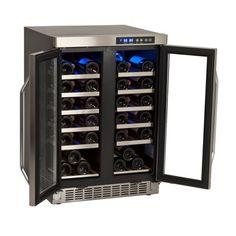 AmazonSmile: EdgeStar 36 Bottle Built-In Dual Zone French Door Wine Cooler - Black/Stainless Steel: Handheld Bottle Openers: Kitchen & Dining