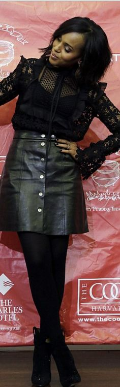 Kerry Washington's black lace top, leather snap skirt, and suede boots