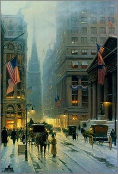 Wall Street New York art print by G. Harvey is available for sale at a great value at Christ-Centered Art. G Harvey, Wall Street News, Kinkade Paintings, Rain Photography, City Painting, New York Art, Paintings I Love, Art For Art Sake, Picture Design
