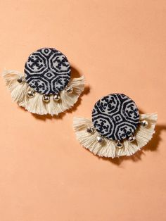 Handmade, tassel earrings in Indian, bohemian, ethnic print with intricate ghungroo detailings perfect to pair with your favouritewestern or Indian attire! Size:4.5 cm (length) Quantity: 1 pair Color: Dark blue The materials used for our jewelry are generally mixed metals,non-precious gemstones or acrylic materials Diy Jewelry Necklace, Tassel Jewelry, Diy Earrings, Tassel Earrings, Earrings Handmade, Statement Earrings, Jewlery, Diy Fabric Jewellery, Funky Jewelry