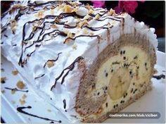 jako ukusan rolat koji podsjeca na sladoled… Napomena: ovo je originalni… Albanian Recipes, Croatian Recipes, Bakery Recipes, Dessert Recipes, Delicious Desserts, Yummy Food, Kolaci I Torte, Torte Cake, Banana Split