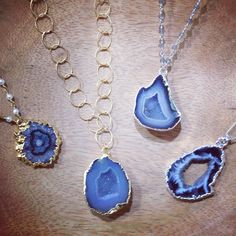 REPOST: Loving these blue druzy necklaces by Nina Nguyen available @gthrappjewelers, #ninanguyen #theninalayer #layering #jewelry #necklaces #pendants #stacks