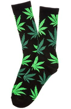 HUF Socks The Plantlife Crew in Black, Green, & Light Green