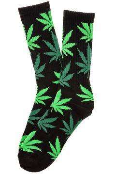 HUF Socks The Plantlife Crew in Black, Green, & Light Green