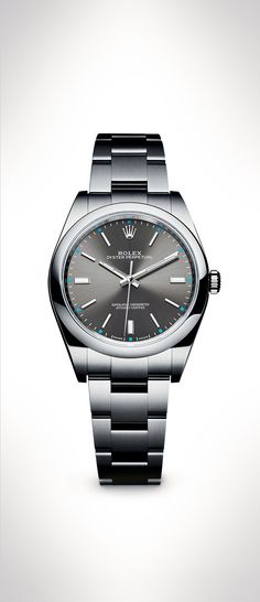 The new Rolex Oyster Perpetual 39 in 904L steel with a dark rhodium dial and…