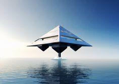 Iate futurista já em aprovação. Em velocidade alta flutua na água.