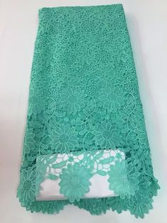 2016 Hot Sale Nigerian african lace fabrics french guipure lace fabric for wedding.Teal Color Tulle Lace Fabric For Dress J800