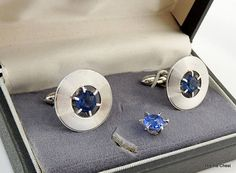 Beautiful set for any formal occasion. Comes in pictured gift box. Vintage Cufflinks Set. Silver Tone Discs with Blue Stone | The Tie Chest