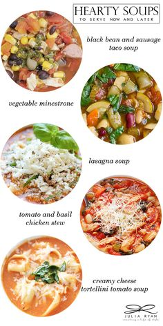 Taco Soup || Minestrone Soup || Lasagna Soup || Tomato Basil Chicken Stew || Creamy...