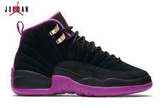 buy popular fde7d b24a5 Girls  Air Jordan 12 GS Basketball Shoes Black Metallic Gold Star-Hyper  Violet