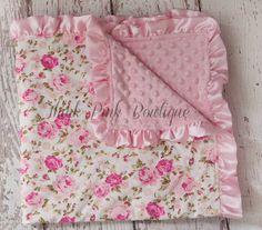 Baby Minky Blanket in Floral Toddler Blanket, Minky Baby Blanket, Baby Girl Blankets, Shabby Chic Quilt Patterns, Shabby Chic Quilts, Baby Knitting, Crochet Baby, Baby Rag Quilts, Baby Shawer