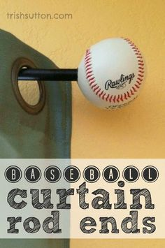 DIY Baseball Curtain Rod Ends are the perfect touch for sports theme bedrooms, playrooms, game rooms and sports rooms! A simple project by TrishSutton. Baseball Curtains, Baseball Nursery, Baseball Mom, Baseball Crafts, Boys Baseball Bedroom, Baseball Boyfriend, Baseball Players, Baseball Quotes, Softball Bedroom Ideas