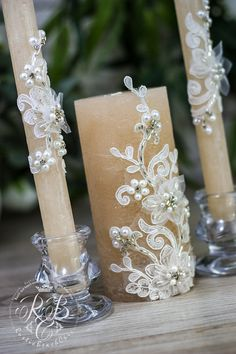 Caramel & white wedding pillar candles flowers by RusticBeachChic