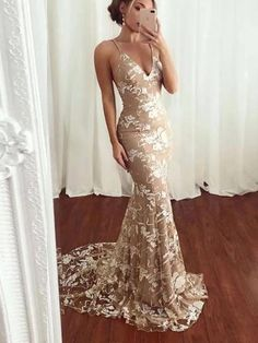 Spaghetti Straps Lace Mermaid Cheap Long Evening Prom Dresses with Sweep Train A Line Prom Dresses, Mermaid Prom Dresses, Cheap Prom Dresses, Evening Dresses, Formal Dresses, Party Dresses, Prom Dress With Train, Lace Mermaid, Spaghetti Straps