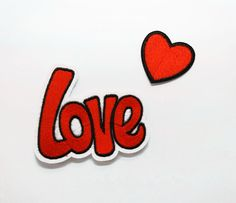 Set of 2 Love Red Heart Iron On Patch Sewing On Embroidered Applique Patch for Jacket Clothes Stickers DIY Apparel Accessories