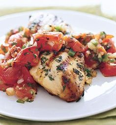 Grilled Chicken with Roasted Tomato and Oregano Salsa AB: AMAZING!  The fresh herbs make it very flavorful.  Did not grill the chicken.  After marinating for 30 min tossed into glass baking dish and covered with tinfoil and baked on 400.  Served with rice and asparagus.