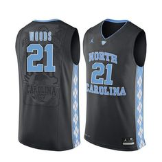 52886b1d0e7 North Carolina Tar Heels 21 Seventh Woods Black College Basketball Jersey