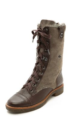 Diane von Furstenberg Alexia Combat Boots with Shearling