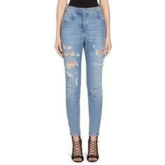 Balmain High-Waist Distressed Skinny Jeans ($885) ❤ liked on Polyvore featuring jeans, high-waisted jeans, skinny jeans, blue skinny jeans, high waisted distressed skinny jeans and high waisted skinny jeans
