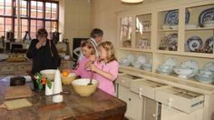Baking in the Kitchen.The Elizabethan Merchants House, Great Yarmouth quay. How lovely to see children enjoying baking. Growing up in a family of 'Museum freaks' we visited this house. Great Yarmouth, National Trust, Great Britain, Growing Up, Natural Beauty, Gardens, Museum, Baking, Learning