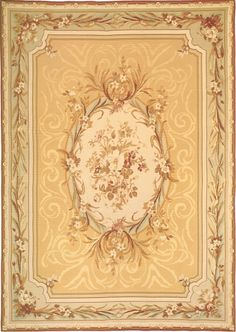 Downton Abbey has started a fashion for elegant Aubusson rugs in gold, cream, pale green, aqua and cream. Downton Abbey, Aubusson Rugs, Craftsman Furniture, Decoupage, Fabric Rug, Textiles, Home Rugs, Mellow Yellow, Floor Rugs
