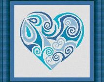 TRIBAL HEART blu / coeur- Counted cross stitch pattern /grille point de croix ,Cross Stitch PDF, Instant download , free shipping