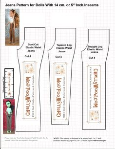 """Image Shows a Monster High doll and an Ever After High doll wearing a pair of tan pants. Beside these images are three different patterns for pants. One is for a boot-cut pair of pants or jeans; a second is for cropped pants; the third is for a straight-legged pair of pants or jeans. The overlay says, """"Free printable sewing patterns for dolls with 15 centimeter inseams."""" It also has the watermark, """"ChellyWood.com: Free printable sewing patterns for dolls of many shapes and sizes."""""""
