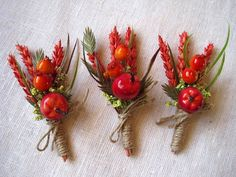 Autumn dried wheat and flower boutonniere set by FlowerDecoupage
