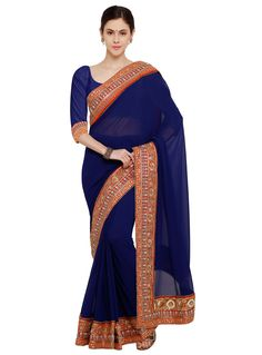 Navy Blue Georgette Saree With Blouse 80709