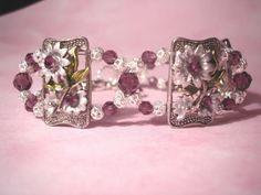 AMETHYST GARDEN BRACELET  Swarovski Crystals by ShesCraftyToo, $40.00