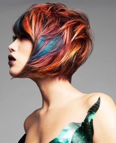 Funky Haircuts, Funky Hairstyles, Curly Hair Styles, Multicolored Hair, Corte Y Color, Sassy Hair, Coloured Hair, Creative Hairstyles, Cool Hair Color