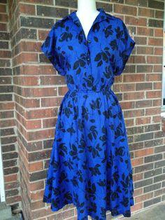 Altered Vintage Blue Floral Print Dress, size 12