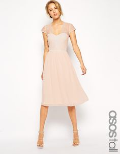 Image 1 of ASOS TALL Midi Skater Dress With Scallop Lace And Chiffon - PINKISH, TALL, $56.50