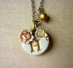 Girl letter necklace, Tiny pendant ,Girl jewelry, Flowergirl necklace for sale Metal Clay Jewelry, Polymer Clay Jewelry, Pendant Jewelry, Clay Beads, Flower Girl Jewelry, Girls Jewelry, Women Jewelry, Handmade Beads, Handmade Jewelry