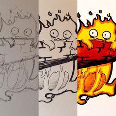 Making of Calcifer from Howl's Moving Castle : 30 min : Touch Markers UniPin 0.2 #calcifer #ghibli #howlsmovingcastle #fire #flame #anime #manga #miyazaki #fuego #illustration #draw #sketch #drawing #art #artistsoninstagram #dailysketch #cute #adorable #chibi #kawaii #unipin #touchfive #traditional #traditionalart #markers #ink #process #makingof