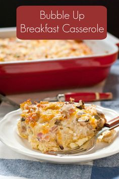 This Ham and Cheese Bubble Up Breakfast Casserole is perfect for Christmas morning!