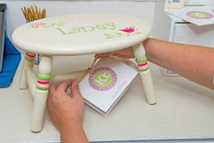 Hand Painted, Personalized Step Stool from @ktsteppers - great for the bathroom, kitchen or anywhere else for your little helper!