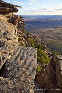 Rawnsley's Bluff in Wilpena Pound, full of an amazing array of fossils up there. This is 600 metres in the air... The rock that you see here used to be on the ocean floor about 750 million years ago.